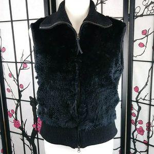 June Rabbit Fur Vest Full Zip Black Sweater Knit